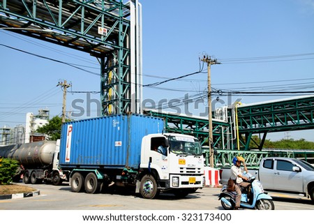 RAYONG-THAILAND-JANUARY 12 : The truck for transportation on the expressway on January 12 , 2015 Rayong Province, Thailand - stock photo