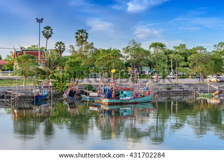 Rayong, Thailand, 04 June 2016: Fishing village in Rayong is the place for tourists and the residential area.