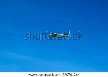 RAYONG , THAILAND- MAY 16 2015: Cessna 208 Caravan no.1918 of KASET , Bureau of Royal Rainmaking and Agricultural Aviation. U-TAPAO Airport, Rayong - stock photo