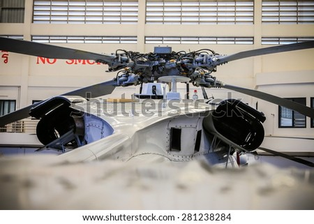 RAYONG , THAILAND- MAY 16, 2015: Detail of Sikorsky UH-60 Black Hawk helicopter of royal thai navy standby in the hangar for maintenance. U-TAPAO Airport, Rayong - stock photo