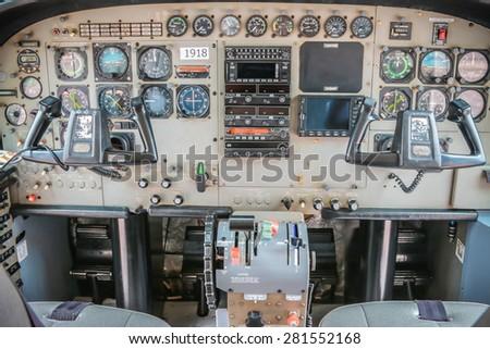 RAYONG , THAILAND- MAY 16, 2015: Inside Cessna 208 Caravan of KASET , Bureau of Royal Rainmaking and Agricultural Aviation. U-TAPAO Airport, Rayong - stock photo