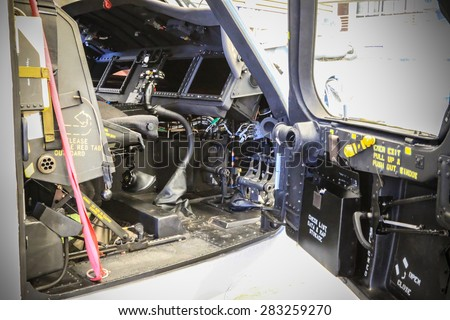 RAYONG , THAILAND- MAY 16, 2015: Inside Sikorsky UH-60 Black Hawk helicopter of royal thai navy standby in the hangar for maintenance. U-TAPAO Airport, Rayong