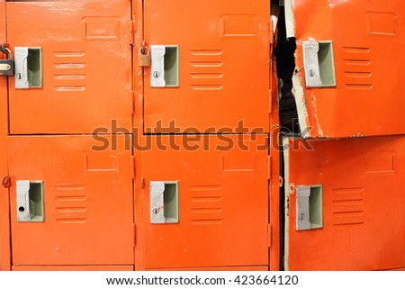 Rayong - Thailand : May 19 - 2016 : Old locker and lock broken use in manufacturing for factory