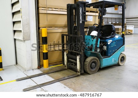 Rayong Thailand , September 23 - 2016 : lift truck in factory warehouse use for loading product and material