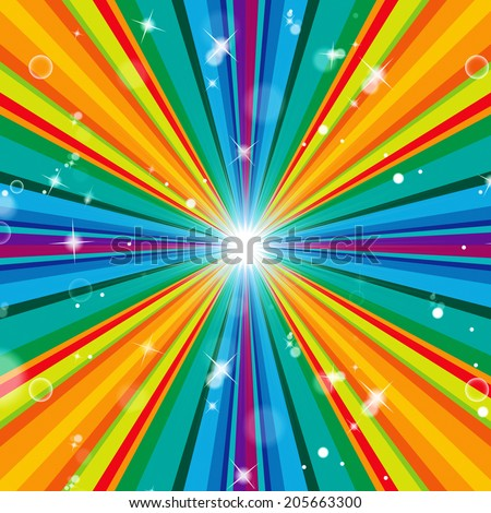 Rays Background Indicating Abstract Vibrant And Multicoloured - stock photo