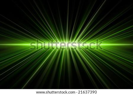 Rays' light, blue on black, abstract - stock photo