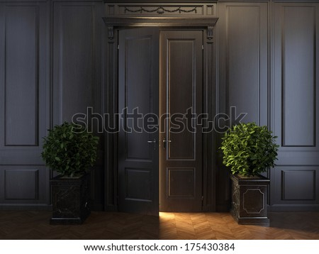 rays of light behind door - stock photo