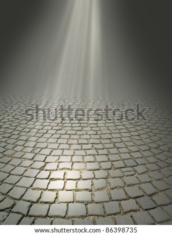 rays of light falling on the old road - stock photo