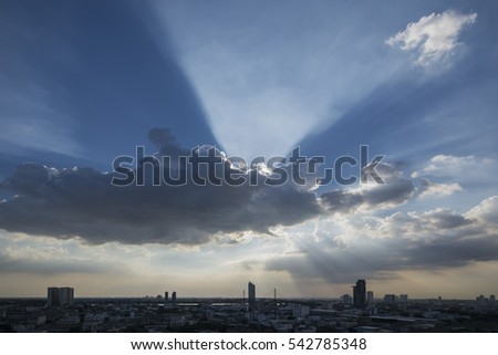 Rays of the light with Bangkok city background
