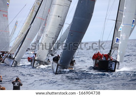 RC44 Class Association on Day 4 fleet racing in World Championship on November 19, 2011 on Puerto Calero, Lanzarote, Spain - stock photo