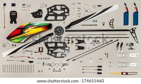 Rc model aircraft kit. Aeromodelling kit, radio controlled model helicopter elements. - stock photo