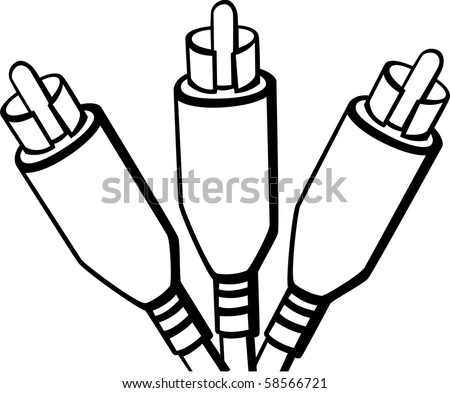 rca cable plugs - stock photo