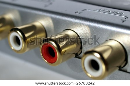 RCA phono sockets for stereo audio plugs - stock photo