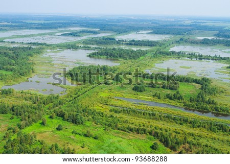 re-waterlogged land, wetland, swamp, view from helicopter - stock photo
