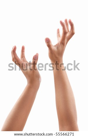 Reach out hands of dark skin tone, against white background - stock photo