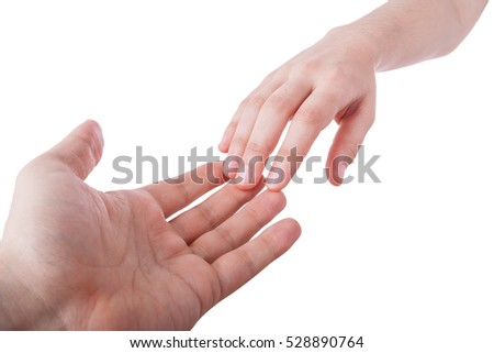 Reaching and touching hands. Concept for salvation, rescue, friendship, guidance. Isolated on white.