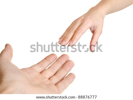 Reaching hands. Concept for rescue, friendship, guidance... Isolated on white background