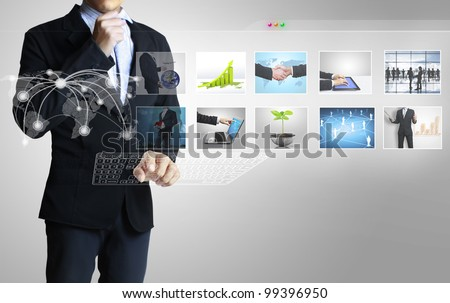 Reaching images streaming - stock photo