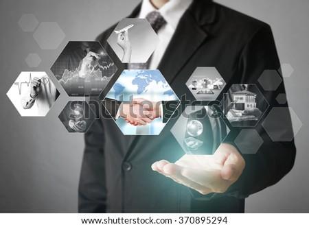 Reaching images streaming, digital photo album - stock photo