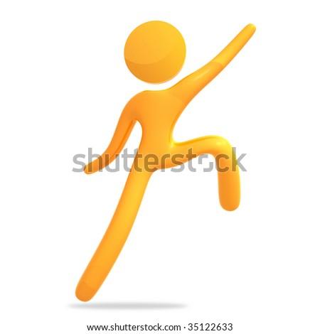 Reaching success 3d public sign icon - stock photo