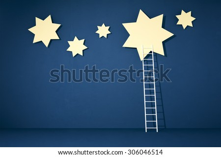 reaching the stars with a white ladder - stock photo