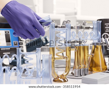 reaction testing in chemical laboratory science concept background - stock photo