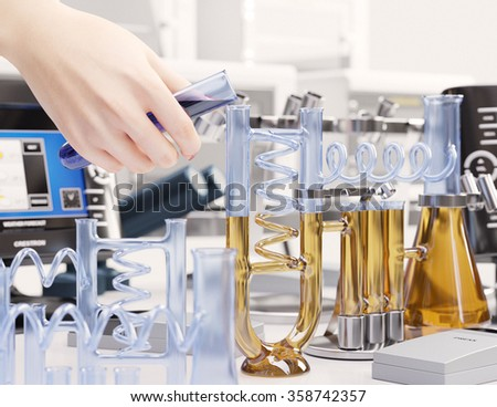 reaction testing in chemical laboratory science concept background