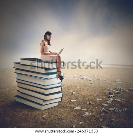 Read and relax with a beautiful panorama - stock photo