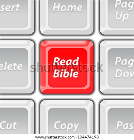 read bible red key - stock photo