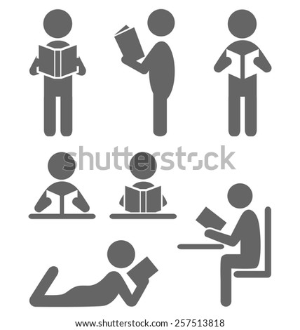 Read book people flat icons isolated on white background - stock photo
