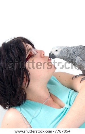 read tale parrot kissing woman - stock photo