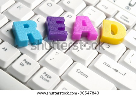 Read word made by colorful letters on keyboard