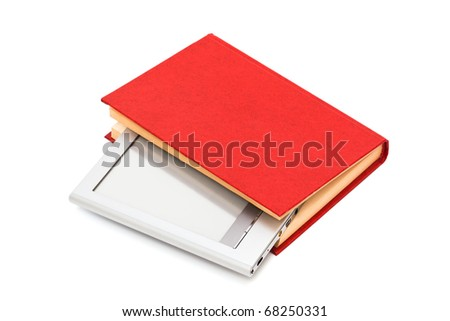reader and book on a white background