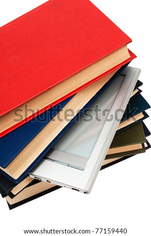 reader and books on a white background - stock photo