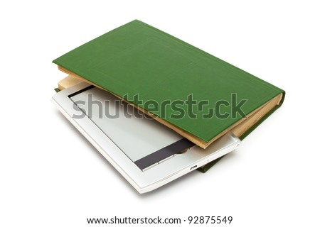 reader and old book on a white background - stock photo