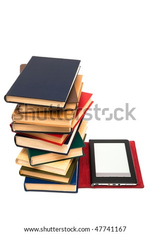 reader and old books on a white background - stock photo