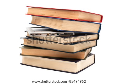 reader and old books on a white background