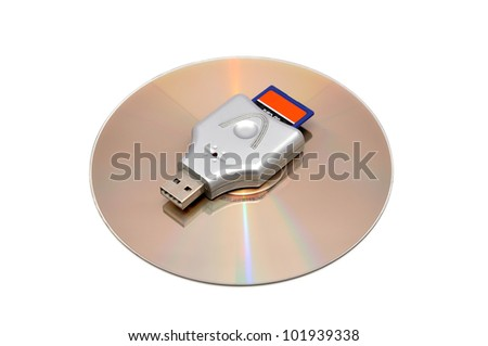 reader with a memory card on a white background