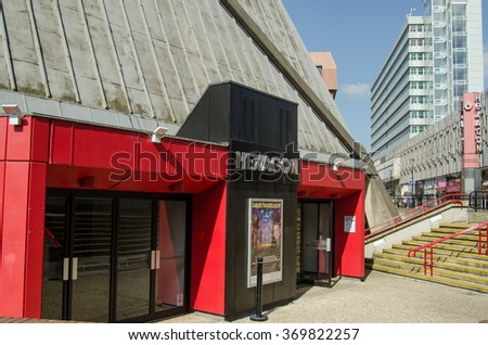 READING, BERKSHIRE - SEPTEMBER 10, 2015: Entrance to the Hexagon Theatre in the centre of Reading, Berkshire viewed on a sunny afternoon in late summer.