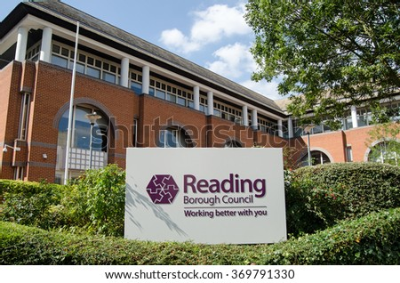 READING, BERKSHIRE - SEPTEMBER 10, 2015:  Headquarters of Reading Borough Council in the centre of the Berkshire town viewed on a sunny day in September.