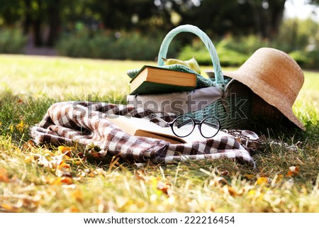 Reading books, outdoors - stock photo