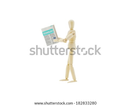 Reading Internet Newspaper (HEADLINES: CREDIT PROTECTION/ PROTECT YOUR PLASTIC, PROTECT YOUR IDENTITY, SOCIAL NETWORK & IDENTITY THEFT) Walking Mannequin isolated on white background - stock photo