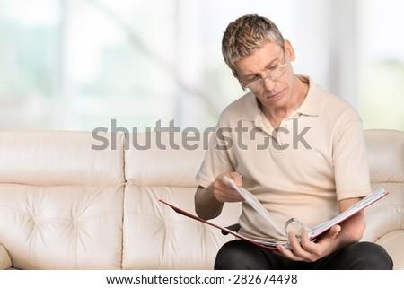 Reading, Men, Report. - stock photo