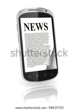 reading news on touch screen phone 3d concept - stock photo