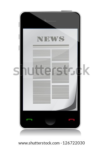 reading news on touch screen phone illustration design over white - stock photo