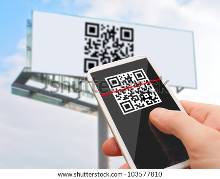 Reading of QR Code from Billboard with Smartphone - stock photo