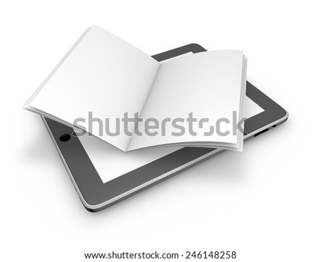 Reading on line, electronic publications abstract concept with tablet and open book. - stock photo
