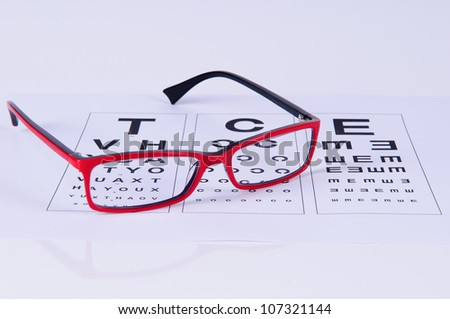 Reading Red and Black eyeglasses and eye chart. close-up. on a light gray background - stock photo