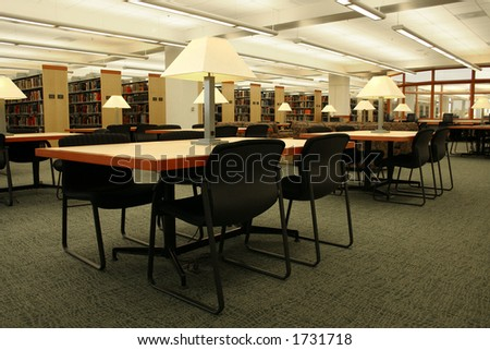 Reading tables in a library.