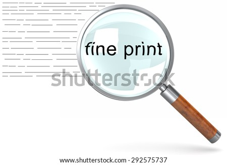 Reading the small print on a document with a magnifying glass